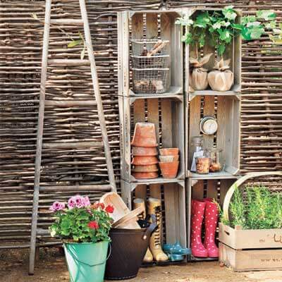 Creative storage ideas for your garden shed using old items for Garden shed organization ideas