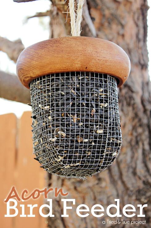 DIY acorn bird feeder idea