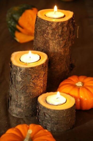 DIY wooden candles for fall