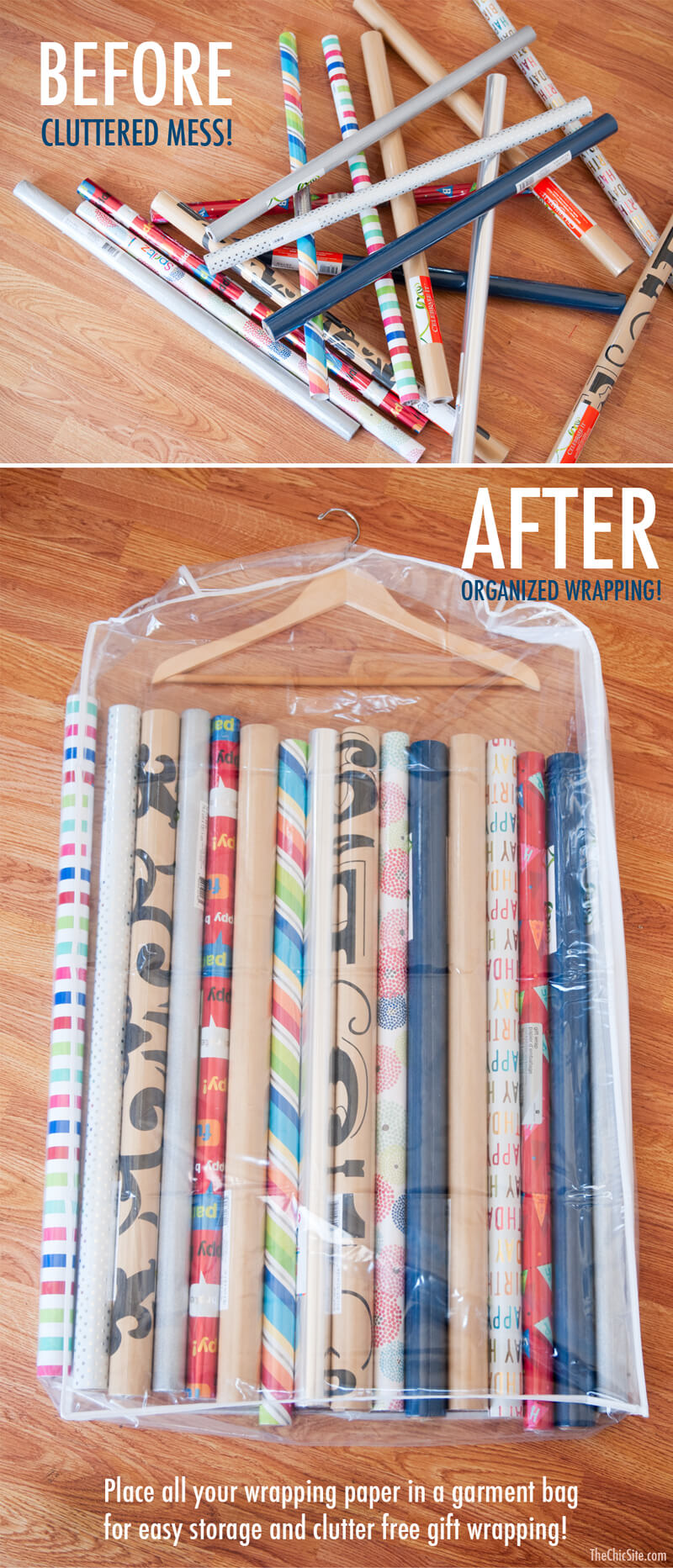 way to store christmas wrapping paper