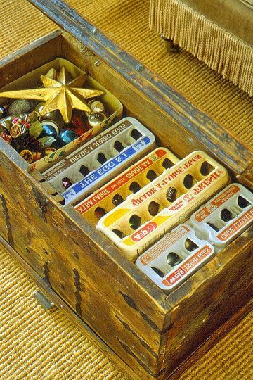 organize christmas decorations in egg carton