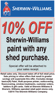 Get your 10% OFF coupon on Sherwin-Williams paint