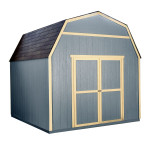 The gorgeous barn-style shed features 6' tall side walls and a peak height of 10'.