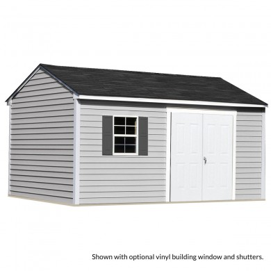 This world-class, maintenance-free shed is our most heavy-duty design; perfect for a large-scale workshop or storage facility. (10'x16' size shown with doors on eave side)