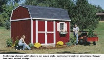 This gambrel-style shed is 10 ft. wide with 6 ft. sidewalls and a 10 ft. high peak.