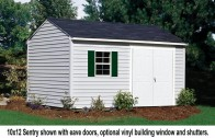 "This vinyl sided shed features 6'6"" ft. tall sidewalls and a 9'4"" ft. high peak."