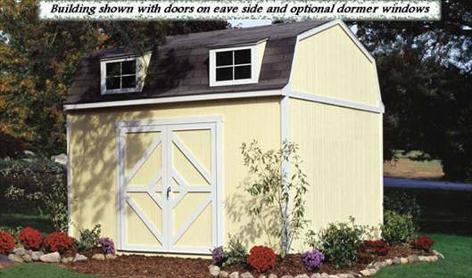 "This gambrel-style shed is 12 ft. wide with 7 ft. sidewalls and a 11'6"" ft. high peak."