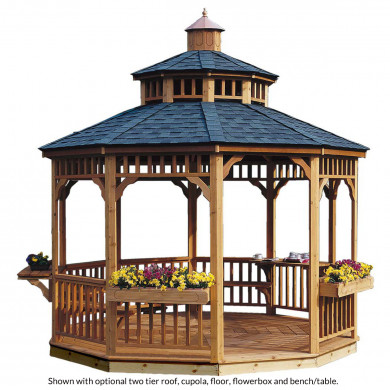 Crafted from select, tight-knot cedar, your new gazebo is resistant to weather decay and insect infestation; this way, you never have to worry about expensive maintenance and upkeep.