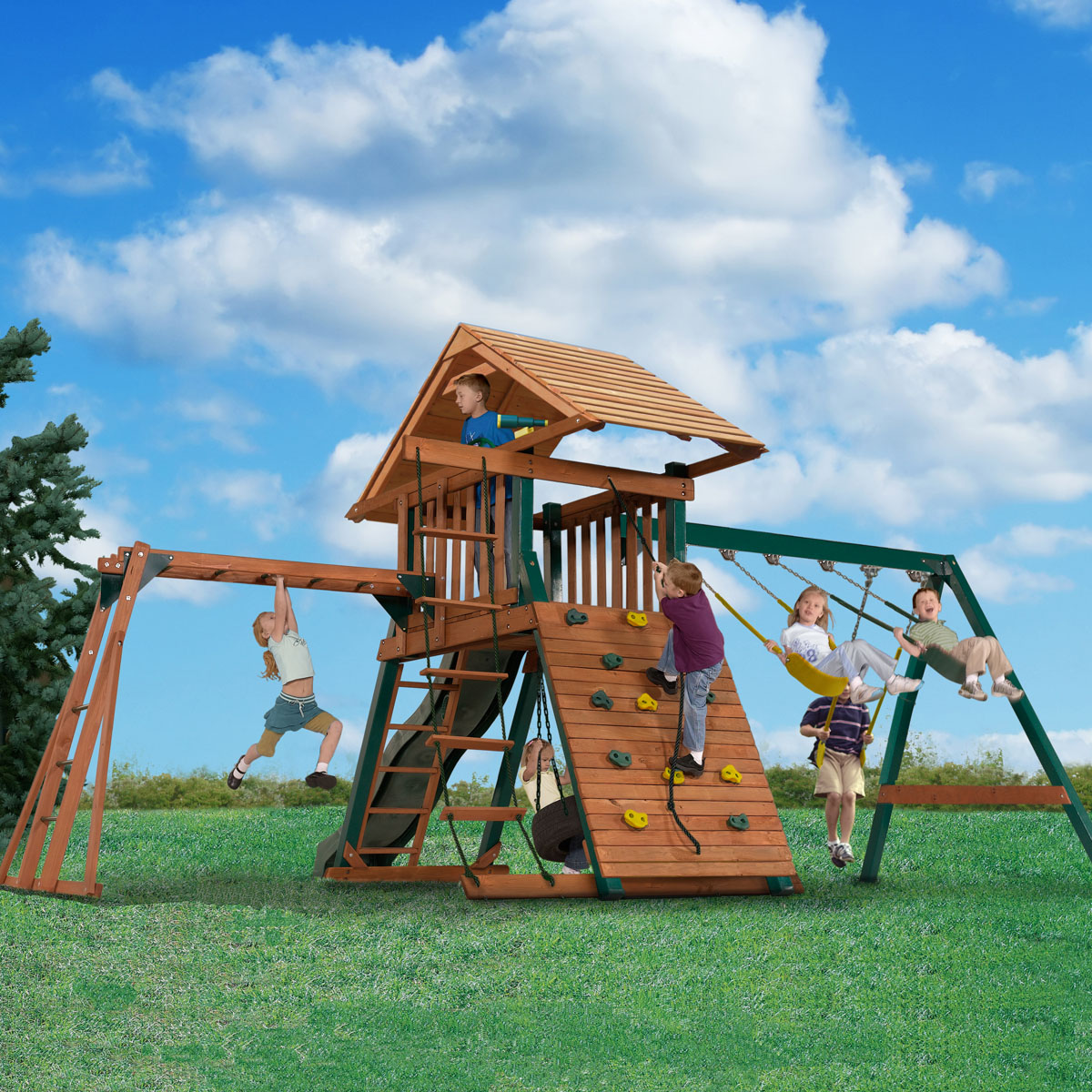 kangaroo kavern wooden playset with monkey bars u0026 tire swing