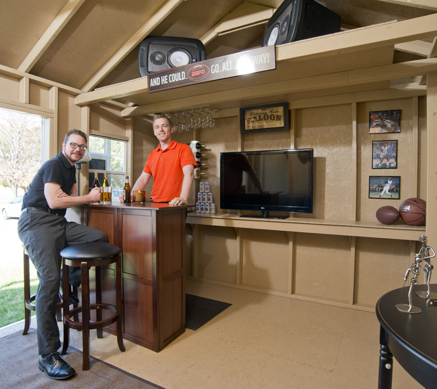 That Is Why Wooden Sheds Make The Perfect Man Caves Turn Your Shed Into A Work Complete With High Definition T V S Bar Stools And E For Pool