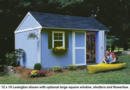 "The 12x10 Lexington features an extra-wide 64"" door opening and a stylish overhang."