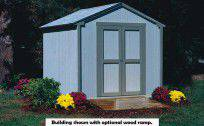 8x8 shed shown with optional wood ramp and white shingles