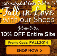 Get an extra 10% off sheds