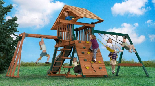 This swing set is loaded with activities that will provide a safe adventure from sunrise to sunset.