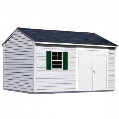 This world-class, maintenance-free shed is our most heavy-duty design; perfect for a large-scale workshop or storage facility. 10'x16' Sentry shown with optional window and shutters. Doors shown on eave side.