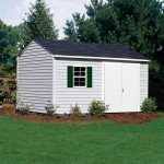 Built with 2x4 construction, this vinyl-sided shed design is our strongest, most durable shed we offer. 10'x16' Sentry shown with optional window and shutters. Doors shown on eave side.