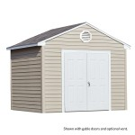 This world-class, maintenance-free shed is our most heavy-duty design; perfect for a large-scale workshop or storage facility. (10'x8 size shown with doors on gable side)